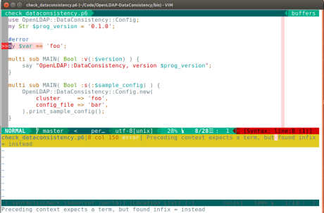 Screenshot of syntastic-perl6